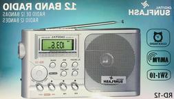Sunflash Portable Digital Tuner Display 12 Band AM/FM/SW 1-1