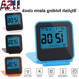 Portable Foldable Mini Travel Digital Table Alarm Clock Cale