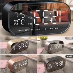 Portable LED Bluetooth Speaker W/ FM Radio Alarm Clock USB M