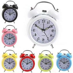 Portable Silent Home Decor Twin Bell Alarm Clock with Nightl