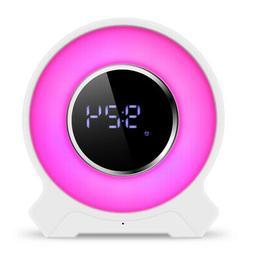 Portable USB Rechargeable LED Wake UP Alarm Clock Wireless B