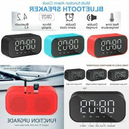 Portable Wireless Bluetooth Stereo Speaker Alarm Clock FM LE