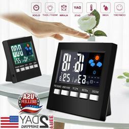 Professional Digital LCD Display Alarm Clock Temperature Hyg