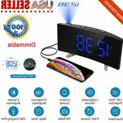 Mpow Projection Alarm Clock 5'' LED Curved-Screen FM Radio 2