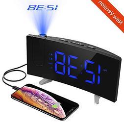 PICTEK Projection Alarm Clock, FM Radio, 5'' Dimmable LED Cu