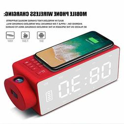 Projection Alarm Clock Bluetooth Speaker with Wireless Charg