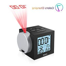 iCKER Projection Alarm Clock for Bedrooms, Digital Clock for