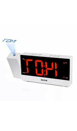 MIZHMI Projection Alarm Clock, Dual Alarms with FM Radio USB