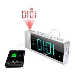 SHANLONYI Projection Alarm Clock Radio with AM/FM, Time Proj