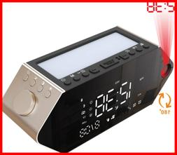 Projection Alarm Clock Radio For Bedrooms Sunrise Dual Alarm
