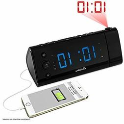 Projection Alarm Clock Radio LED Display Auto Time Set Smart