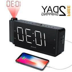 Projection Alarm Clock Radio with USB Charging Port and FM R