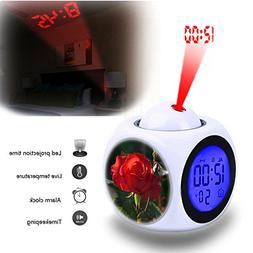 Projection Alarm Clock Wake Up Bedroom with Data and Tempera