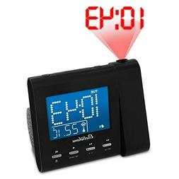 Projection Alarm Clock with AM/FM Radio Battery Backup Auto