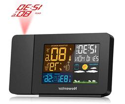 Projection Alarm Clock with Weather Station for Bedrooms, Pr
