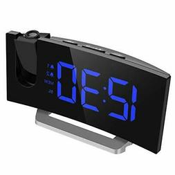 Mpow Projection Alarm Clock, 5'' LED Curved-Screen Projectio
