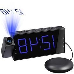 Mesqool Projection Clock with Bed Shaker Alarm, Loud Alarm S