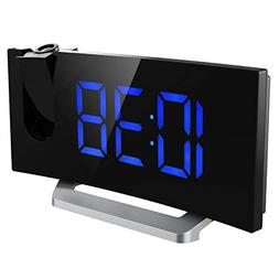 Mpow Projection Clock, FM Radio Alarm Clock, Curved-Screen D