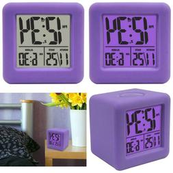 Purple Cube Lcd Alarm Clock With Date Display Manual Set Tim