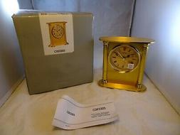 Seiko QHE102GLH Goldtone Brass Table Top Alarm Clock BRAND N