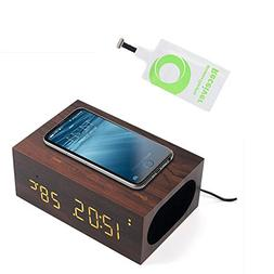 TuoP Wood Alarm Clock Qi Charger Wireless Bluetooth Speaker