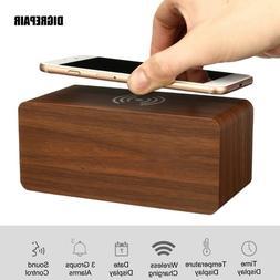 QI Wireless Quick Phone Charger Digital <font><b>Alarm</b></