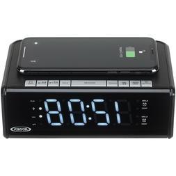 Jensen Qicr-200 Dual Alarm Clock Radio with Qi Charging 9.40