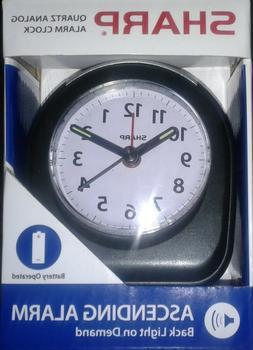 SHARP Quartz Analog Alarm Clock, Black, Compact