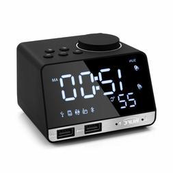 Radio Alarm Clock Bluetooth Speaker With 2 USB Ports LED Dig