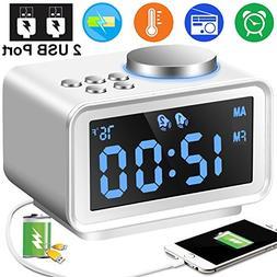 "Digital Alarm Clock Radio - 3.5"" Blue LCD Alarm Clock FM Rad"