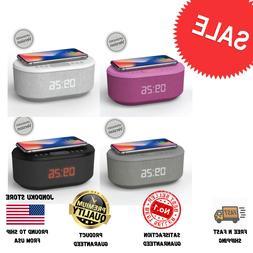 Radio Alarm Clock USB Charger,Bluetooth Speaker QI Wireless