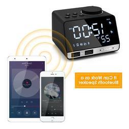 Radio Digital Alarm Clock  Bluetooth Speaker With 2 USB Port