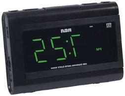 RCA RC142 Desktop Clock Radio - 2 x Alarm - FM, AM - USB