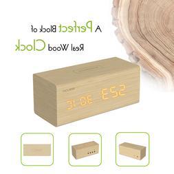 BALDR Wooden Alarm Desk Clock, Touch Sensitive Wood LED Digi