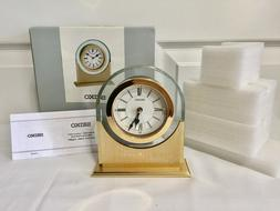 RETIRED Seiko Gold Tone Bedside Alarm Clock Crystalized w/Sw