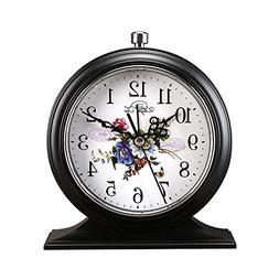 Retro Flower Alarm Clock Retro Style for Home Decor Black