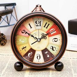 Retro Round Alarm Clock Simple European Bedside Stand 6Inch