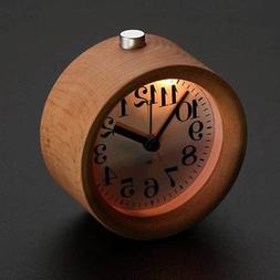 Retro Small Round Silent Table Snooze Beech Wood Alarm Clock