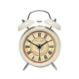 "Retro Twin Bell Alarm Clock Marble Pattern Dial 4"" Cream"