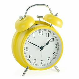Retro Twin Bell Mechanical Alarm Clocks with Nightlight Back