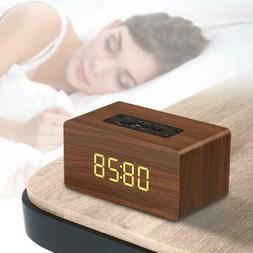 Retro Wooden Digital LED Alarm Clock With Bluetooth Speaker