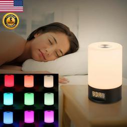 RGB Color LED Wake Up Light Sunrise Simulation Alarm Clock L