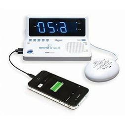 Rise n Shine Dual Alarm Clock with Bed Shaker and USB Chargi