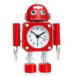 robot alarm clock stainless metal