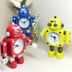 Robot alarm clocks for students desk creative metal cute car