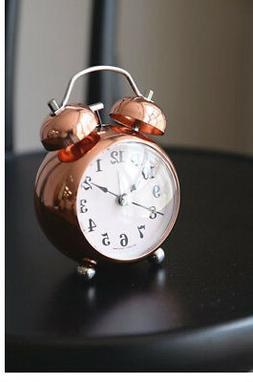 Rose Gold Alarm Clock NO-Ticking Silent Battery Operated Kid