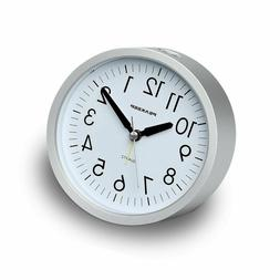 Peakeep 4 inch Round Silent Analog Alarm Clock Non Ticking,
