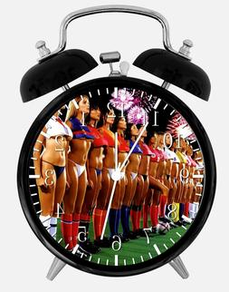 """Sexy Soccer Girls Alarm Desk Clock 3.75"""" Home or Office Deco"""