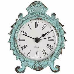 Shabby Chic Desk & Shelf Clocks Baroque Style Pewter Quartz