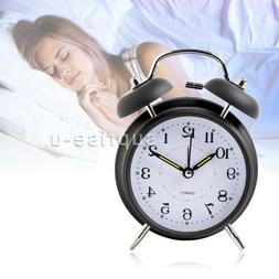 Silent Analog Alarm Clock Vintage Classic Night Light Extra